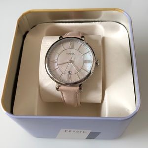 NEW Fossil Pink Face Blush Leather Watch